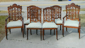 Set Of 6 Oak Pierced Back Dining Chairs 2 Arm 6 Side 19th Century
