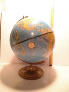 Vintage Crams Imperial World Globe On Metal Table Stand 38 Around Equator