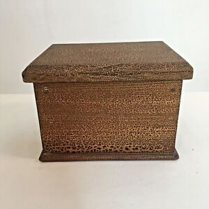 Vintage Wooden Box Removable Lid Trinkets Sewing Jewellery 15x12x10cm