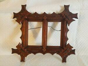 Vintage Tramp Art Picture Frame From Carved Wood Excellent Condition