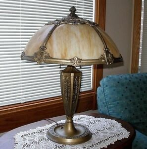Antique Slag Glass Lamp Art Nouveau Arts And Crafts Pittsburg Empire Miller