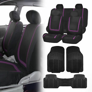 Black Purple Car Seat Covers With Black Rubber Floor Mats For Auto Car Suv