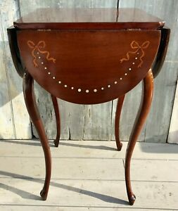 Antique English Mahogany Inlaid Clover Drop Leaf Table On Cabriole Legs C 1880