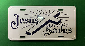Jesus Saves Metal Novelty Car License Plate Tag Religious Cross Christian Faith