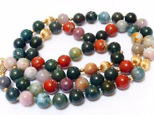 Chinese Vintage Multi Color Agate Jade Bead Necklace 14kgf Clasp And Beads