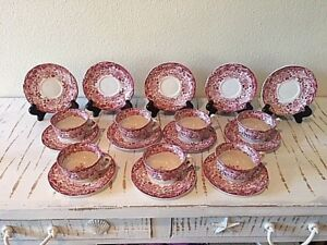 Vintage Pickman Sevilla Red Transfer Demitasse Cups And Saucers