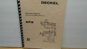 Deckel Kf2 Milling Machine Instruction Manual