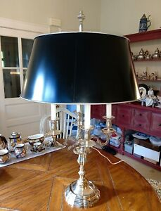 French Louis Xv Silverplated Bronze Large 36 Bouillotte Lamp Decoules Paris