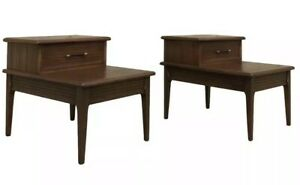 Pair Vintage Mid Century Danish Modern Atomic Two Tear End Table Nightstands