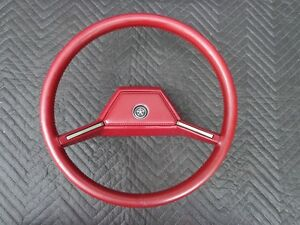 81 83 Chrysler Oem 82 Red Leather Wrap Steering Wheel W Horn Pad Mopar Dodge