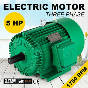 Electric Motor 5 Hp 3 Phase 1750 Rpm 1 125 Keyed Shaft Outdoor Applicable