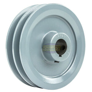 4 75 Cast Iron 7 8 Shaft Pulley Sheave Single 2 Groove V Style A Belt 4l New