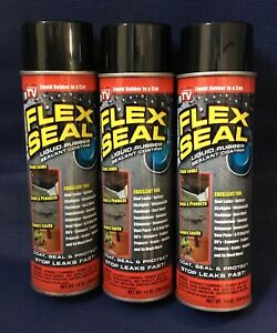 3 pk Flex Seal Spray Black Liquid Rubber Sealant Coating Stop Leak Wet Dry 14oz