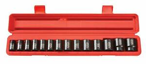 14 Pc 1 2 Inch Drive 6 point Shallow Impact Socket Set Inch Cr v 3 8 1 1 4