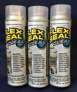 3 pk Flex Seal Spray Clear Liquid Rubber Sealant Coating Stop Leak Wet Dry 14oz