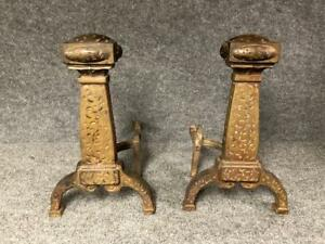 Vintage Arts Crafts Style Stickley Era Fireplace Andirons