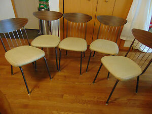 Vintage Chairs Mid Century Modern Art Deco Set Of 5 Chromcraft Inc Decorables
