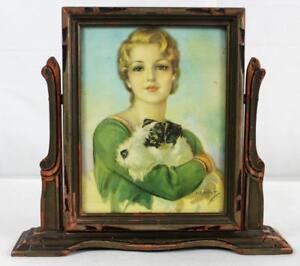 Vintage Wooden Swing Picture Frame With Print Girl Dog Winners