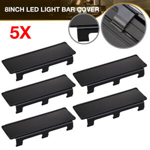 5x 8 Inch Black Lens Cover Snap For Straight Curved Led Light Bar 54 52 50