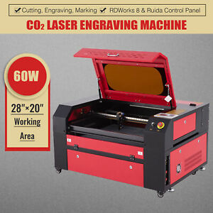 60w Co2 Laser Engraver Cutting Machine W Built in Air Assist 20x28in Workbed