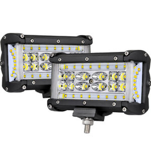 2x 6inch Led Work Lights Bar Pods Flood Spot Combo Quad Row Side Shooter Driving