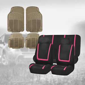 Black Pink Seat Covers For Car Suv Auto With Beige Rubber Floor Mats