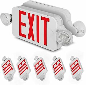 6 Pack Emergency Lights Red Exit Sign W dual Led Lamp 6 Pack Residential Schools