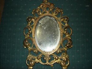 Antique Brass Frame Rococo Style Table Mirror 14 Inches Long 9 1 2 In Wide