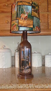 Folk Art By The Artist Lamp Deer Shade Rustic Country Cabin Decor