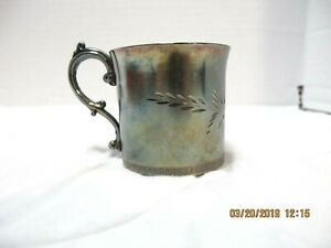 Vtg Superior Silver Plate Co Quadruple 99 Baby S Cup Mug Etched