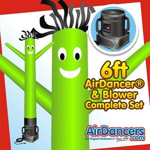 Green Air Dancers Inflatable Tube Man 1 4 Hp Sky Dancer Blower Set 6ft