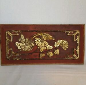 Very Old Chinese Furniture Panel China Red And Gold Patina Carved Details Bird