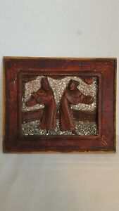 Old Chinese Furniture Panel China Red Patina Carved Details 2 Figures