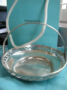Unique Tiffany Co Sterling Silver Candy Nut Basket