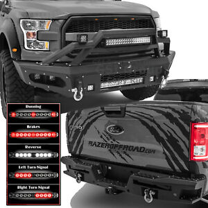 Steel Front rear Bumper 21 Led Bar twin Taillight Light Bar Fit 15 17 Ford F150