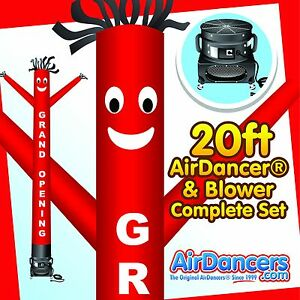 Red grand Opening Air Dancers Inflatable Tube Man 1 Hp Blower Set 20ft