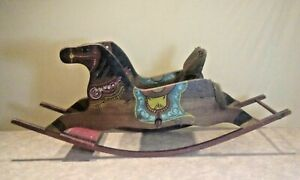 Antique Pa Hand Painted Child S Rocking Horse 2 Horses Orig Paint