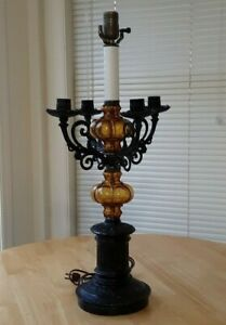 Antique Art Deco Wrought Iron Electric Table Lamp Amber Glass Candle Holder