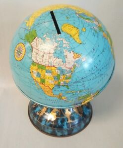 1962 Ohio Art 6 Metal Globe Bank Commemorating John Glenn S 3 Orbits Of Earth