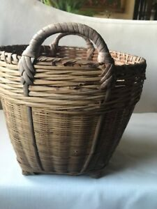 Antique Primitive Bamboo Splint Wood And Reed Basket