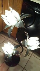 Vintage Mid Century Anthony California 36 Glass Lotus Flower Floor Lamp Asian