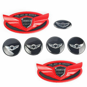 Set 7pcs 2010 2019 Fit For Hyundai Genesis Coupe Red Chrome Wing Logo Emblem