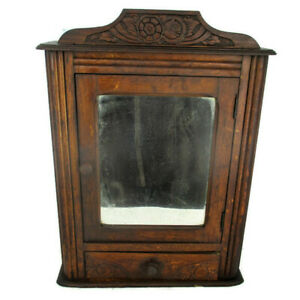 Vintage Kitchen Apothecary Medicine Wall Bathroom Cabinet Ornate Carved Wood