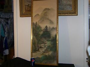 Old Chinese Original Mixed Media On Silk Painting Large Panel Signed Stamped