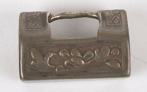 Antique Detailed Small Chinese Lock Pendant Charm Ornate Silver Calligraphy