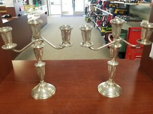 Pair Of Crown Sterling Candle Stick Holder 3 Tier Weighted Adjustable