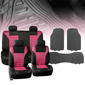 Universal Car Seat Cover For Auto Pink Black W Gray All Weather Floor Mats