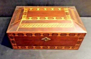 Rare Antique Vintage Lots Of Inlay Mahogany Jewelery Box Tea Sewing Trinket