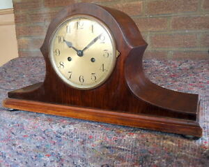 Baduf German Chiming Walnut Mantel Clock Napolean Style For Restoration