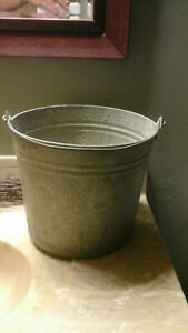 Vintage Galvanized Steel Pail Marked 10 Rustic Lancaster Country Farm Bucket